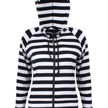Banned Gothic Emo Punk Funky Striped Cat Ears Light Weight Hoodies