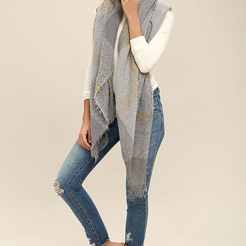 Forest Route Grey Plaid Scarf