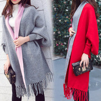 autumn winter tassel loose Outerwear Jacket Handkerchief a13589
