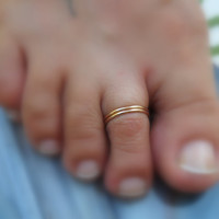 Toe Rings/Above The Knuckle Rings 14K Yellow Gold Filled Handcrafted - Set Of Two