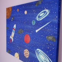 Solar System painting, planets, sun, comet, galaxy, rocket, 18x24, original canvas painting