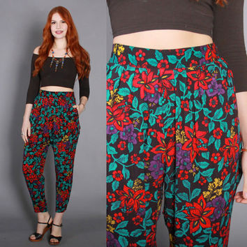 90s FLORAL Print Slouchy PANTS / 1990s Soft Jewel Tone High Waist Trousers