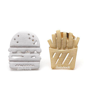 hamburger earrings, french fries studs, burger and chips, funny earrings, unique earrings, hamburger, fries, men earrings, potato chips,