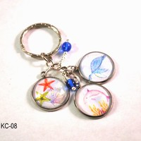 Sea Life Beach Key Chain,  Key Ring with Dolphin Charm