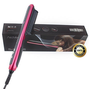 Hair Straightener Straightening Brush 3.0 From Asavea #1Rating Safest Ceramic Fastest Heating Detangling Styling Anti-scald Patented Design,Backed By FCC, Gift Packaging,Get Great Styler at Home!