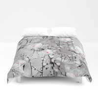 White Snow Flowers Duvet Cover by Smyrna