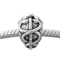 European charm metal bead medical symbol caduceus