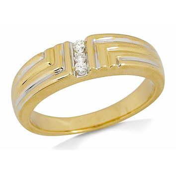 Men's 6.0 mm Wide .07 tcw Natural Diamond Band 14k SOLID Gold