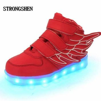 Boys USB Charging LED Light Up Shoes With Wing Design