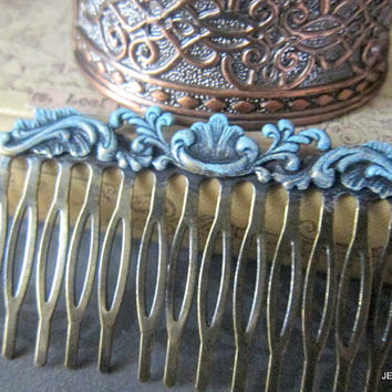 Turquoise Hair Comb Teal Blue Wedding Hair Accessories Something Blue Something Old Vintage Inspired Patina Aqua Mint Bridal Head Piece