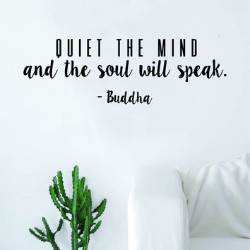 Quiet the Mind Buddha Soul Quote Decal Sticker Wall Vinyl Art Decor Home Buddha Inspirational Yoga Zen Meditate Lotus Flower