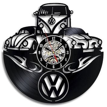 Car Logo Vinyl Record Wall Clock