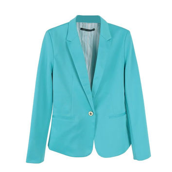 Women One Button Slim Casual Business Blazer Suit Lady Outwear