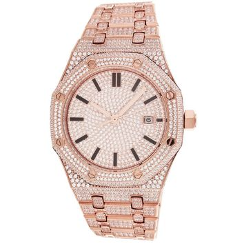 Men's Steel Solitaire Face IcedOut Exclusive Rose-Gold Watch