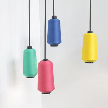 Thread cone hanging light fixture, ceiling lamp, made of large colourful thread cones, unique hanging lamp, modern, minimal rainbow colours