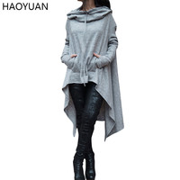 HAOYUAN Casual Women Hoodies Sweatshirts 2017 Fashion Loose Long Sleeve Hooded Woman Tracksuit New Maxi Autumn Slim Hoodie Dress