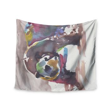"Rebecca Bender ""Grizzly Bear Watercolor"" Abstract Animal Wall Tapestry"