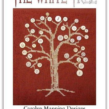 CM Designs The White Tree Cross Stitch Pattern w/buttons