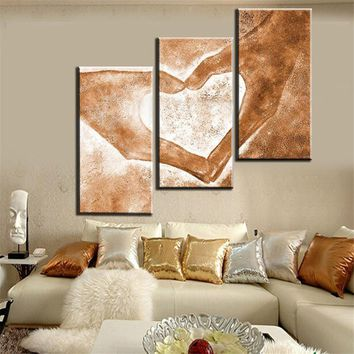 Hand Painted 3pcs Modern Abstract Oil Paintings Love Heart Drawing by Hands Canvas Art Living Room Wall Pictures Decor