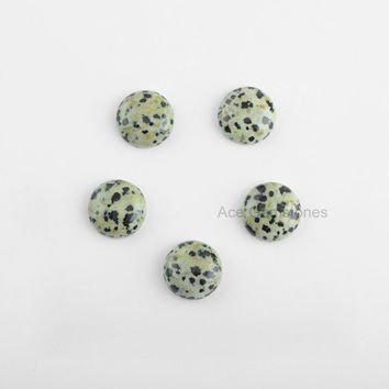 Dalmatian Jasper Smooth Cabochons, Jasper Loose Gemstone, Flat Back Round 15mm AAA Grade, Wholesale Gemstone - 5 Pcs.