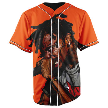 Travis Scott Orange Button Up Baseball Jersey