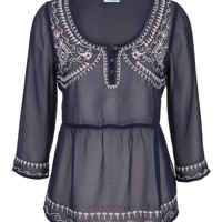 Embroidered Chiffon Peasant Top - Blue Jasmine Combo