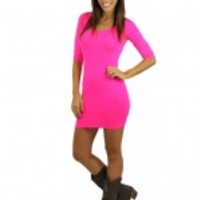 Neon Pink Fitted Top / Dress