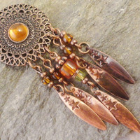 Copper Dream Catcher Necklace with Amber Beads