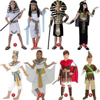 halloween costume for kids Pharaoh queen egyptian cleopatra costume girls boys for children ancient egypt fancy dress Cosplay