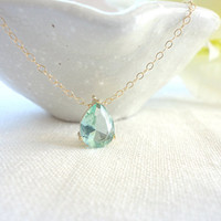 Gold framed teardrop necklace, Erinite raindrop necklace, Mother's day gift - gold filled