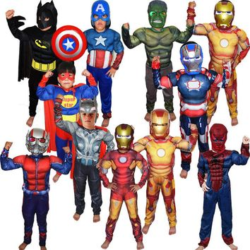 Super Hero Jumpsuit Captain America SpiderMan Superman Batman IronMan Thor Avengers Muscle  Cosplay Costumes Children's Day Gift