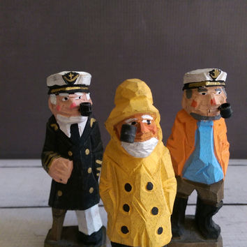 Hand Carved Sailors/ Wooden Sea Captain and Sailors/ Set of Wooden Sailors/ Vintage Nautical Decor/ Vintage Sailor/ Folk Art
