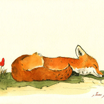 PRINT-Fox animal - red fox sleeping nursery - print watercolor painting art wall red fox animal forest decor - Art Print by Juan Bosco
