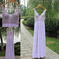 Handmade beading chiffon prom dress,v-neck long prom dress,bridesmaid dress/evening dress/formal dress