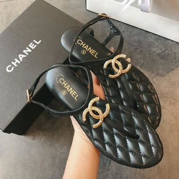 Double C Gold/black Sandal