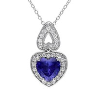 Lab-Created Blue & White Sapphire Sterling Silver Heart Pendant Necklace