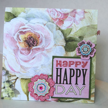 "Handmade 6"" x 6"" album page - Happy Day- using one sheet of 12"" x 12"" paper"