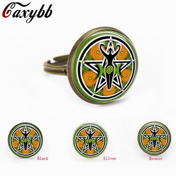 2016 free shipping Charm pentagram glass charm Wiccan ring charms Occult Jewelry gift for send friend adjustable rings