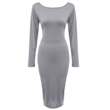 Sexy Plunging Neck Criss-cross Hollow Out Bodycon Dress for Women