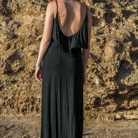 Flouncy Maxi Dress - Black