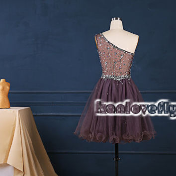 one shoulder short beading top homecoming dresses,2015 short prom dresses,mini dress,party dress gowns,cocktail dress,cute sweet16 dresses
