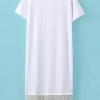 White Fringed Short Sleeve Shirt Dress