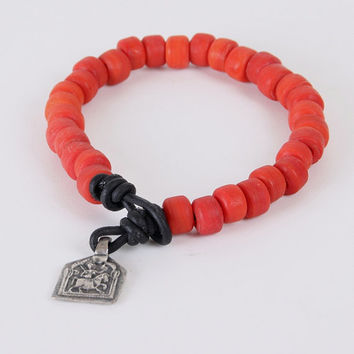 VujuWear St. George Medallion Red Beaded Men's Leather Bracelet