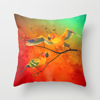Parrots Sun Conures Throw Pillow by Rainbowdreams