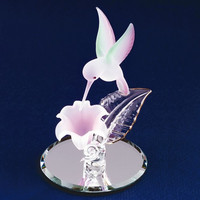 Small Hummingbird & Lavender Flower Glass Figurine