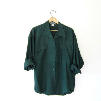 vintage silk shirt. slouchy silk blouse. forest green silk blouse. long sleeve silk top. colorful 90s silk shirt. womens medium