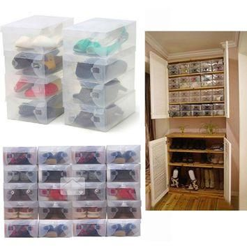 Hot Sale 10Pcs Transparent Clear Plastic Shoes Storage Boxes Foldable Shoes Case Holde
