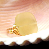 Yellow Sea Glass Ring: Large Stone Square Statement Ring, 24K Gold Wire Wrapped Beach Jewelry, Mellow Yellow, Size 6