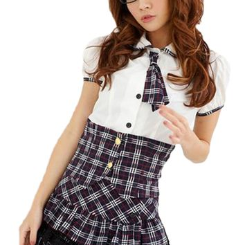 Atomic Black Plaid School Girl Costume
