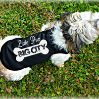 Custom Dog Clothing. Little Dog Big City. Dog Tank Top. Cute Small Dog Shirts. Pet Apparel.